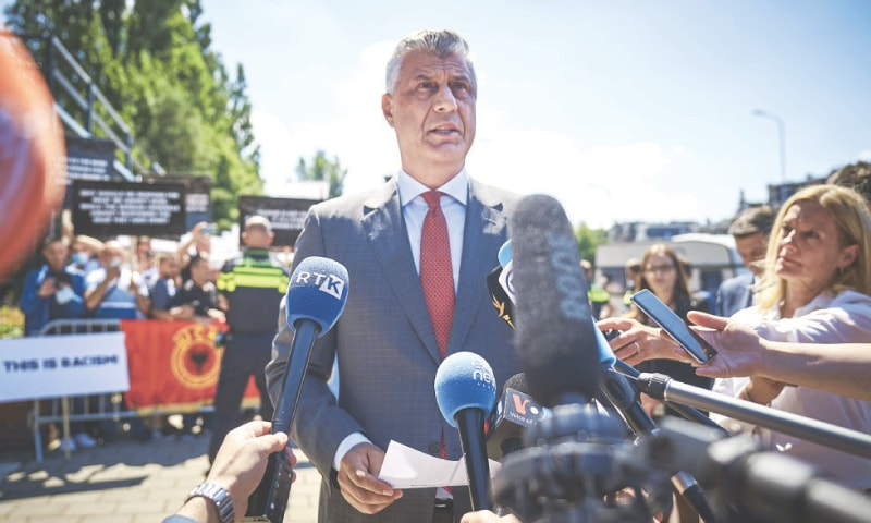 The Hague: Kosovo's president Hashim Thaci speaks to the media as he arrives at the Kosovo Specialist Chambers  on Monday. — AP