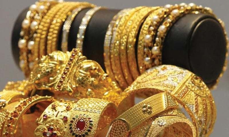 The All Sindh Saraf Jewellers Association said the new per tola and 10-gram peak showed an increase of Rs350 and Rs300 from Saturday's rates. — File