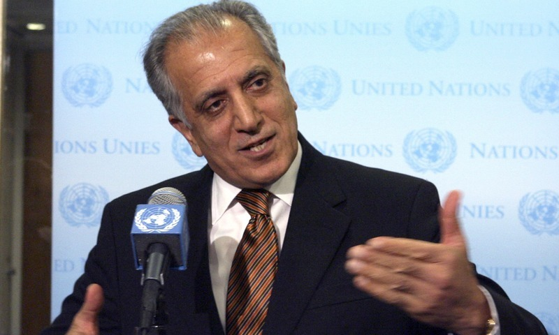 """""""The US has worked hard to carry out 1st phase of its commitments under the agreement, including to reduce troops & depart five bases,"""" Zalmay Khalilzad said. — AP/File"""