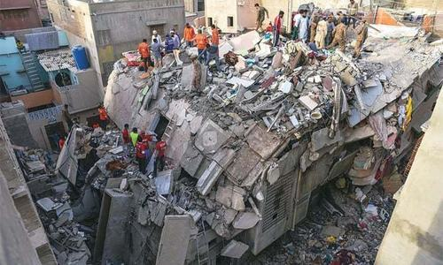 Twenty-seven people had lost their lives when the multistorey building collapsed in March this year. — Dawn/File