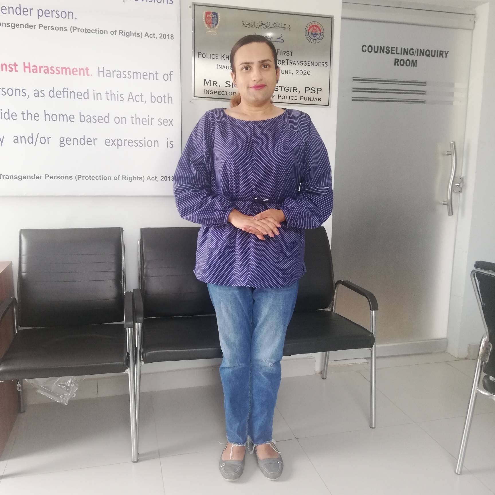 Reem Sharif, Pakistan's first transgender police officer, poses for a photo at her workplace in Rawalpindi on July 1, 2020. —  Thomson Reuters Foundation