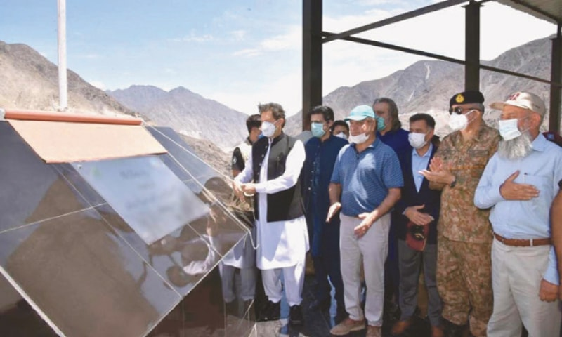 PRIME Minister Imran Khan kicks off the construction of Diamer-Bhasha Dam at the project site on Wednesday.
