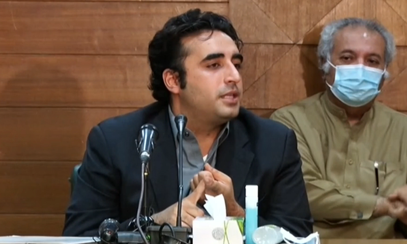"""Let there be no mistake that political movements cannot be launched because of corona,"" says PPP chief Bilawal Bhutto-Zardari. — DawnNewsTV/File"