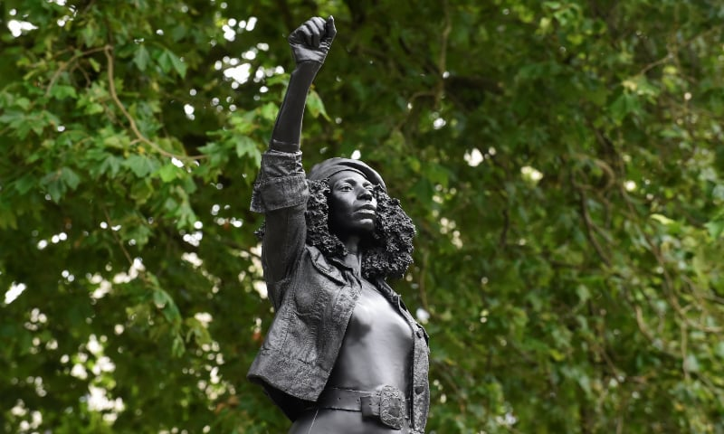 Slave trader's statue replaced with that of black protester