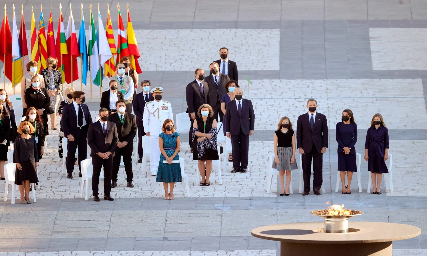 Crown Princess Leonor of Spain (4R), her father King Felipe VI of Spain (3R), Queen Letizia of Spain (2R) and Princess Sofia of Spain attend a state ceremony to honour the 28,400 victims of the coronavirus crisis as well as those public servants who have been fighting on the front line against the pandemic in Spain. — AFP