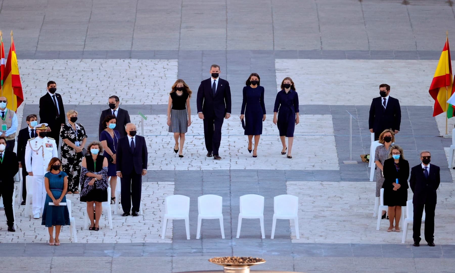 Spanish royal family members (L to R) Crown Princess Leonor, King Felipe VI, Queen Letizia and Princess Sofia arrive to attend a state ceremony to honour the 28,400 victims of the coronavirus crisis as well as those public servants who have been fighting on the front line against the pandemic in Spain. — AFP