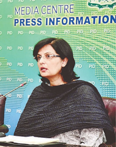 Special Assistant to the Prime Minister on Poverty Alleviation and Social Safety Dr Sania Nishtar addressing a press conference.—APP