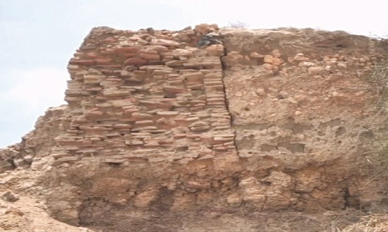 A SEVERED portion of the fort's rampart unearthed in Makli recently.—Dawn