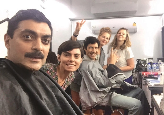 Khan with actor Tahar Rahim in the make-up van