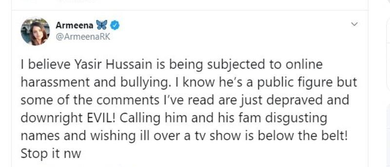 ارمینا خان نے یاسر حسین پر تنقید والوں پر تنقید کی—اسکرین شاٹ