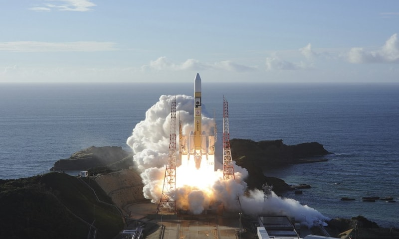In this photo released by MHI, an H-IIA rocket with United Arab Emirates' Mars orbiter Hope lifts off from Tanegashima Space Center in Kagoshima, southern Japan on Monday, July 20, 2020. — AP