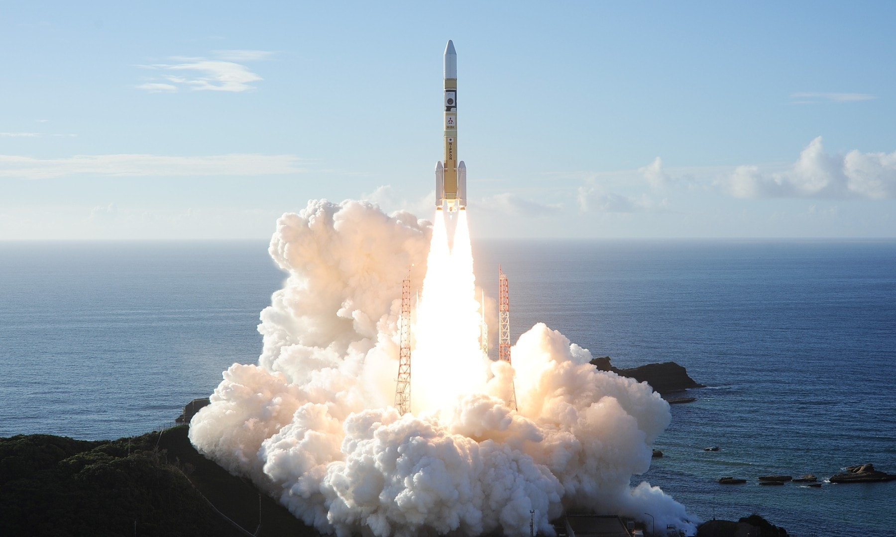 An H-2A rocket carrying the Hope Probe, lifts off from the launching pad at Tanegashima Space Center on the island of Tanegashima, Japan. — Reuters