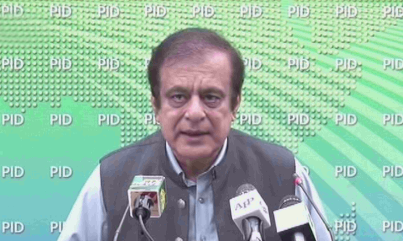 Information Minister Shibli Faraz briefs the media after a cabinet meeting. — DawnNewsTV