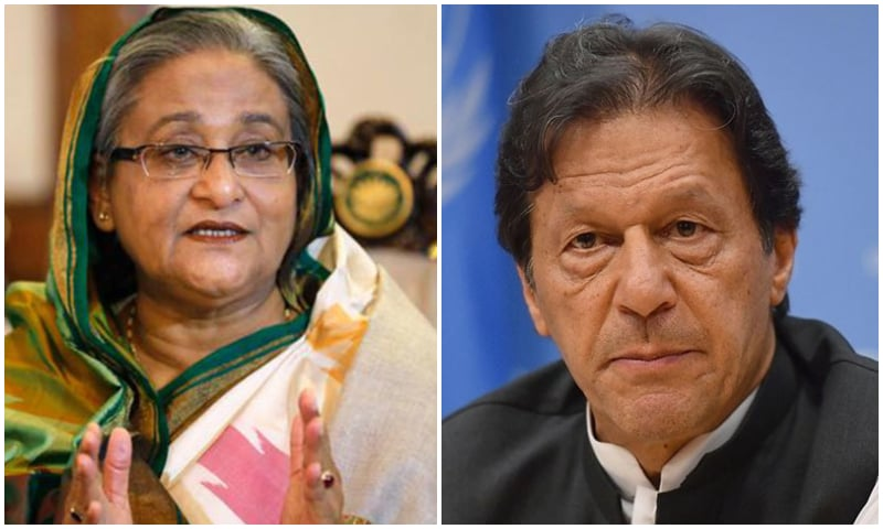 "Prime Minister Imran Khan, in what was his first telephone conversation with his Bangladesh counterpart Hasina Wajed expressed his desire for ""closer and fraternal"" relations with Bangladesh. — Photo courtesy Reuters (L) , AFP (R)"