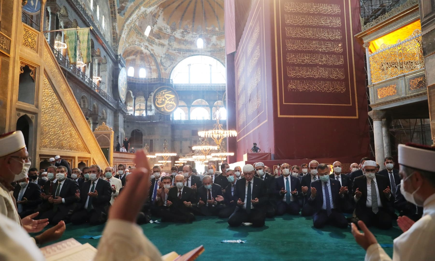 Turkey's President Tayyip Erdogan attends Friday prayers at Hagia Sophia Grand Mosque. — Reuters