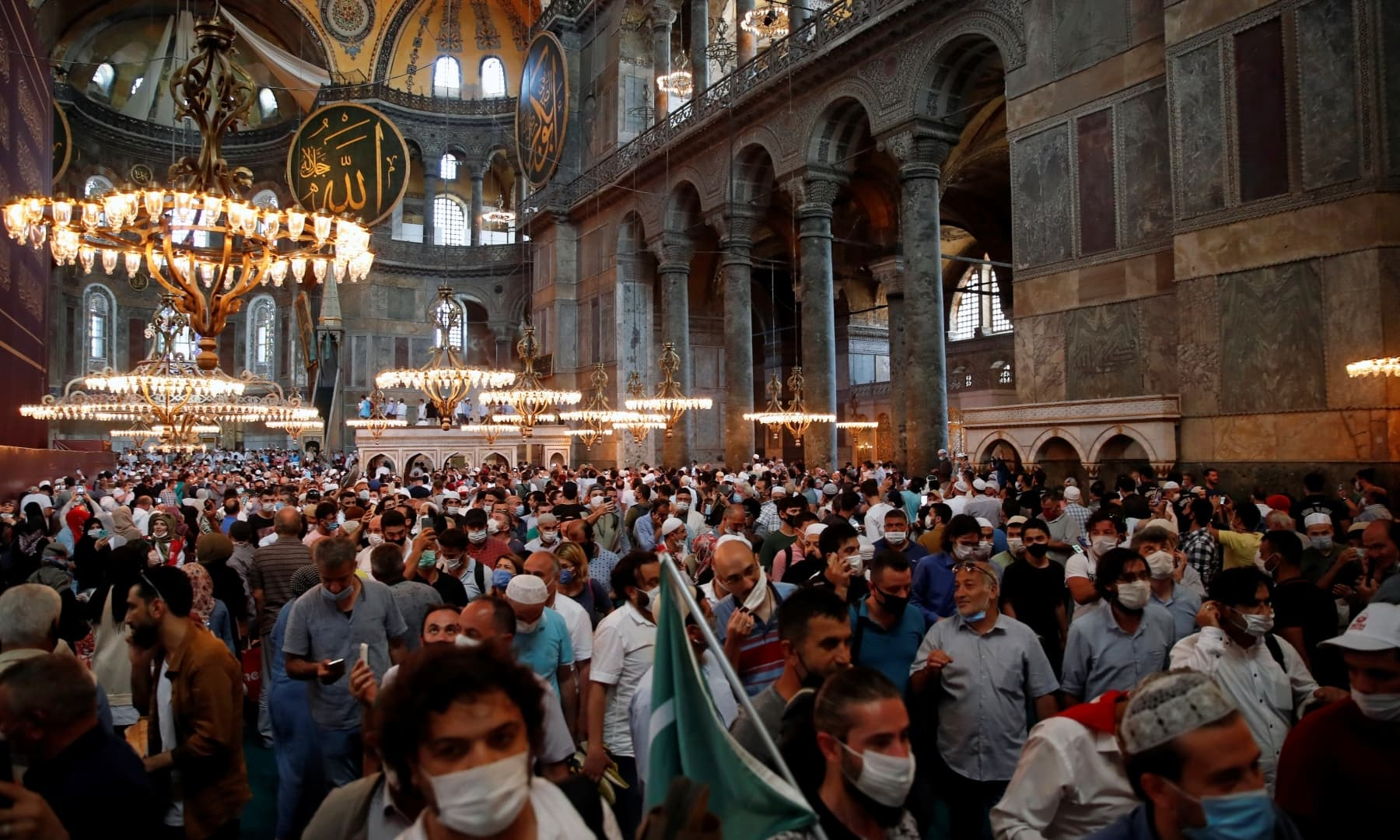 Worshippers attend afternoon prayers and visit Hagia Sophia Grand Mosque. — Reuters