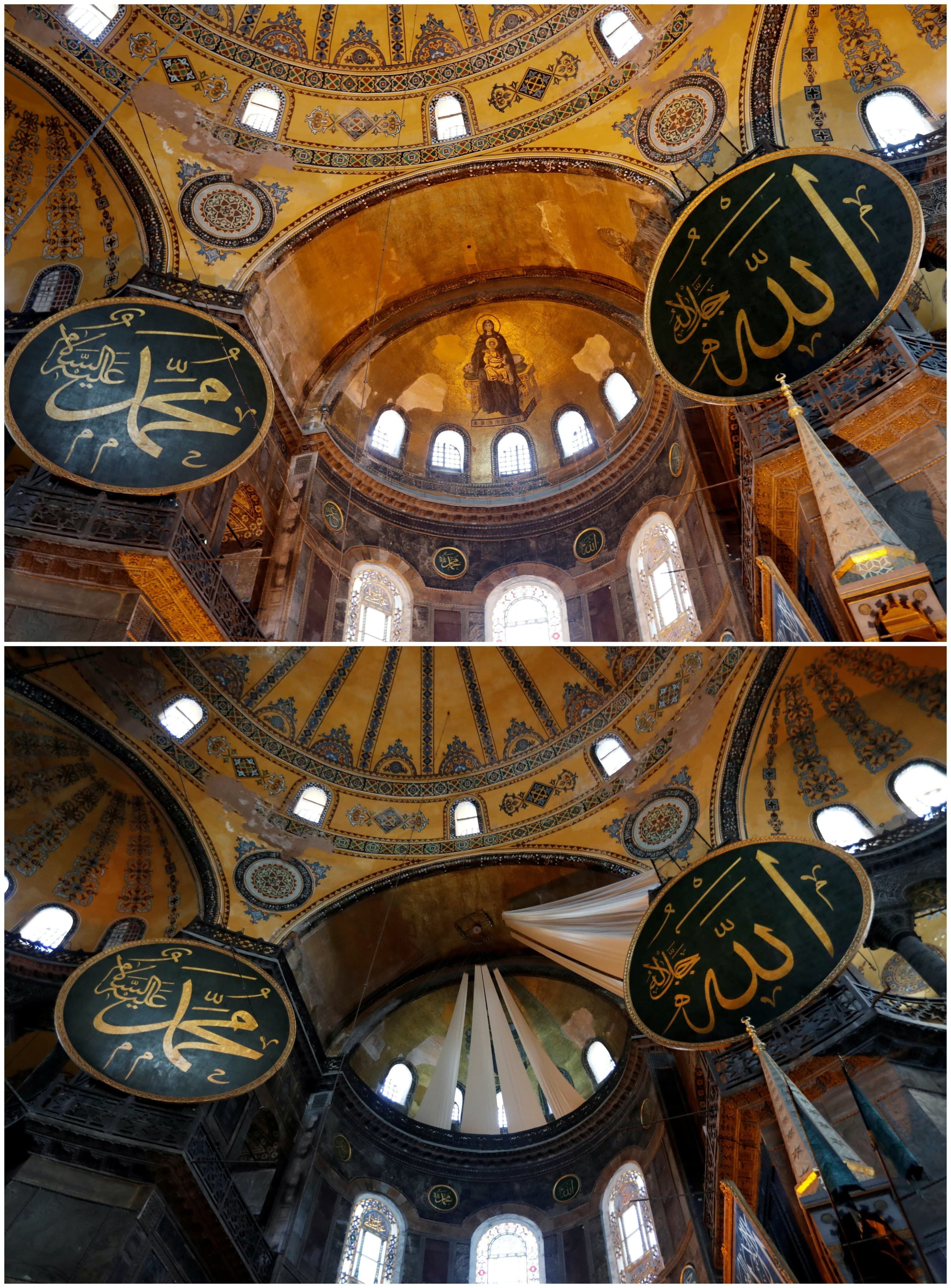 A combination picture shows a view of Hagia Sophia or Ayasofya, June 30, 2020 and the same spot as curtains covering Christian frescoes are pictured at Hagia Sophia Grand Mosque after Friday prayers on July 24, 2020. — Reuters