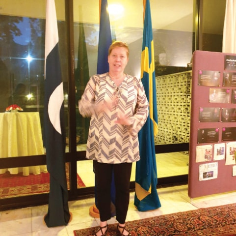 Swedish Ambassador Ingrid Johansson speaks at the farewell reception at her residence in Islamabad.