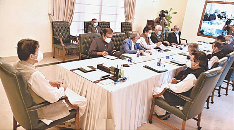 ISLAMABAD: Prime Minister Imran Khan chairs a meeting on Monday. — APP