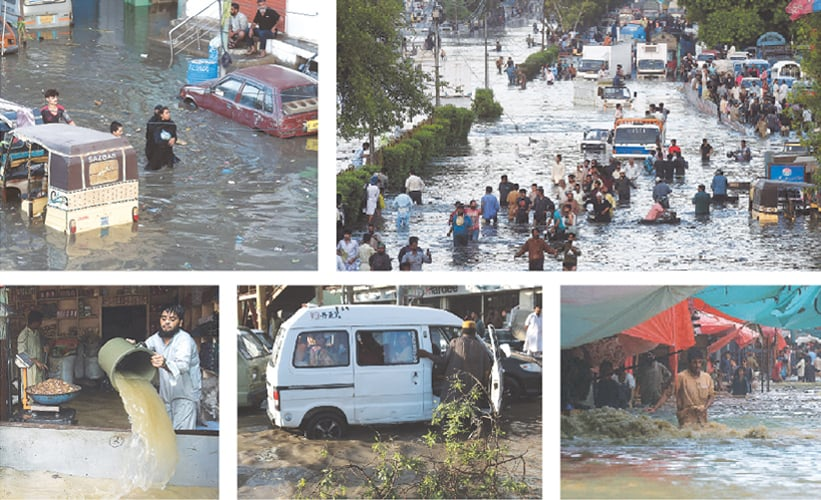(CLOCKWISE) A woman along with two children wade through a flooded street after heavy rains in Karachi on Monday. Commuters cross an inundated road. A view of a market. A van is stuck in the rainwater. A man removes water from his grocery shop. —AFP/Shakeel Adil-White Star