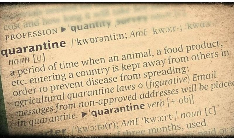 A dictionary definition of the word quarantine. — Photo from Scroll.in