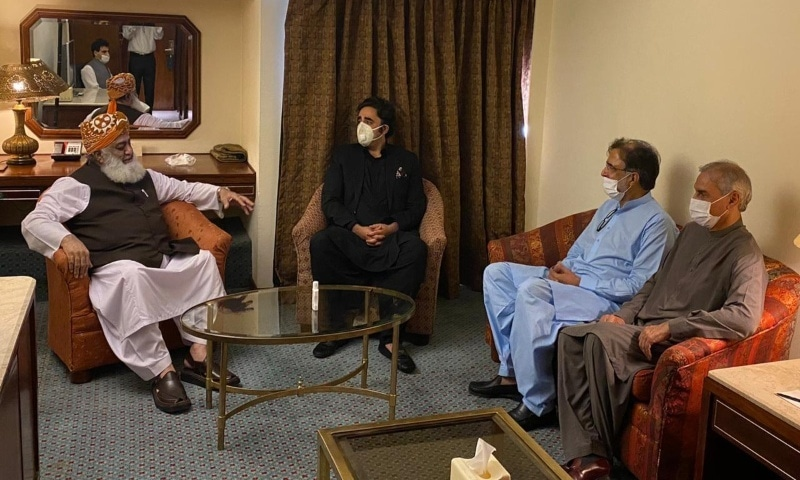 Bilawal in a meeting with Fazlur Rehman. — Photo provided by author
