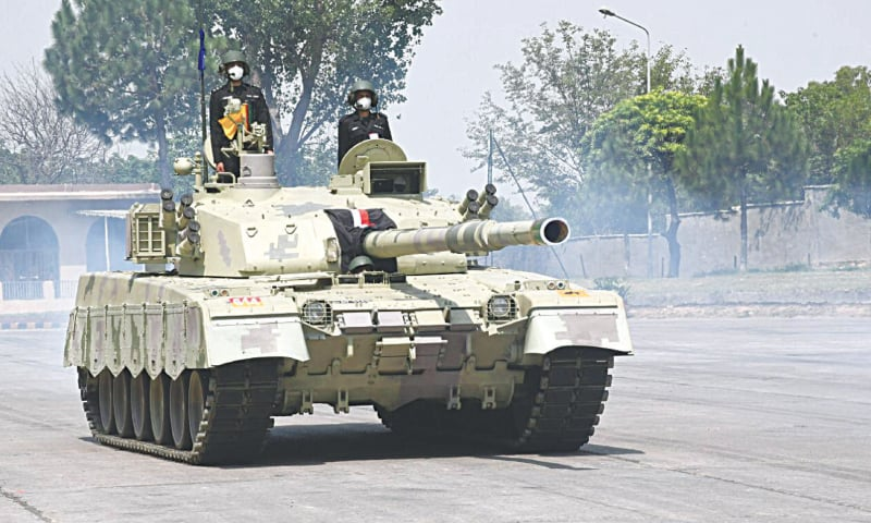 A handout picture released by the ISPR shows the Al Khalid-I tank during a field demonstration on Tuesday.