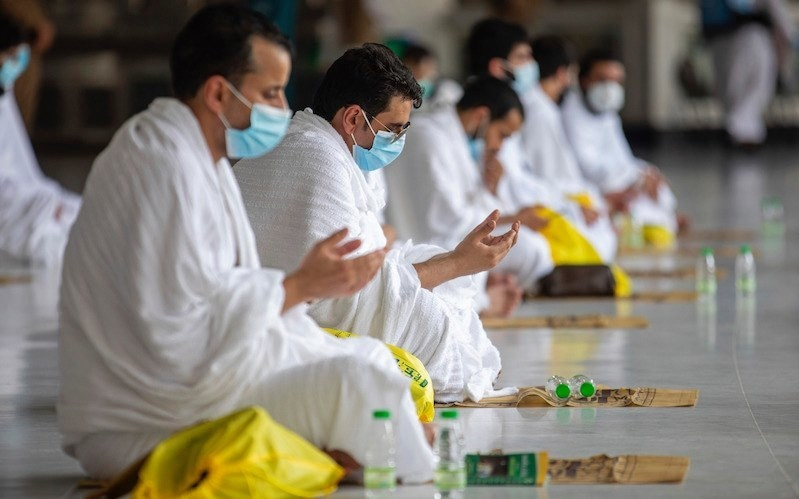 Pilgrims were tested for the coronavirus, given wristbands that connect to their phones and monitor their movement and were required to quarantine at home and in their hotel rooms in Makkah ahead of Wednesday's start of the Haj. — Saudi Media Ministry via AP