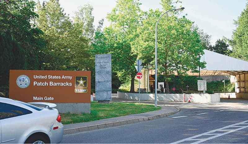 STUTTGART: The main gate of the United States European Command (EUCOM) headquarters in Stuttgart, southern Germany.—AFP