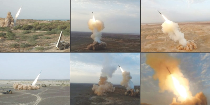 This combination of image grabs from footage obtained off an Iranian state-owned television channel reportedly show ballistic missiles being launched by the Revolutionary Guard Corps during the last day of military exercises on Wednesday.—AFP