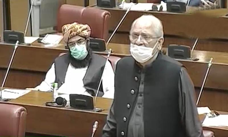 سینیٹر مشاہد اللہ خان کا سینیٹ میں اظہار خیال—تصویر:ڈان نیوز