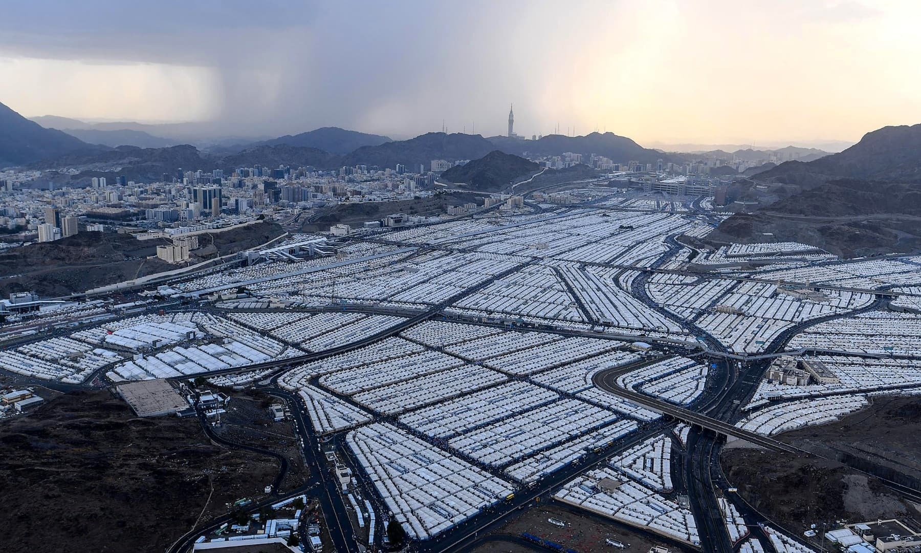 An aerial view shows tents of Muslim pilgrims during the annual Haj pilgrimage in Mina on July 29. — Reuters