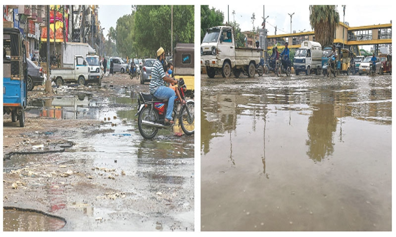While the Sindh government insists it has done a satisfactory job of draining rainwater and critics are posting 'old' pictures to defame it, these photos of North Nazimabad's main road taken on Thursday tell a different tale.—Fahim Siddiqi/White Star