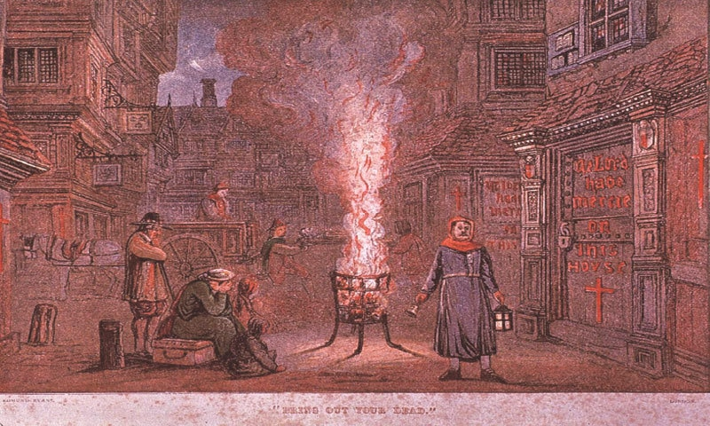 """'Bring Out Your Dead', painted by Edmund Evans in the 1800s, imagines a London street at the height of the Great Plague of 1665, with doors of the infected marked in red and a """"dead-cart"""" collecting the bodies of the deceased 
