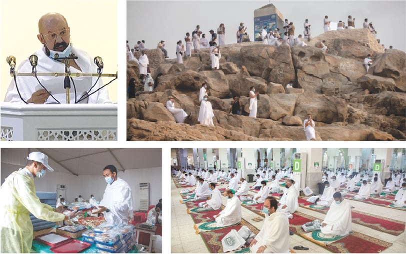(Clockwise) A prayer leader delivers the Haj sermon at Nimrah mosque on Thursday as pilgrims gather in Arafat, outside Makkah, for the high point of the pilgrimage. Pilgrims wear face masks, as they pray on Mount Mercy on the plains of Arafat. Pilgrims maintain social distancing as they pray inside Nimrah mosque. A pilgrim receives food on the plains of Arafat.—Reuters