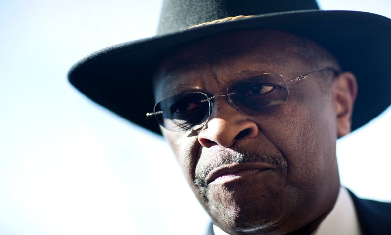 In this file photo Herman Cain arrives to visit the Tennessee Valley Sportsman Gun Show on March 3, 2012 in Chattanooga, Tennessee. — AFP