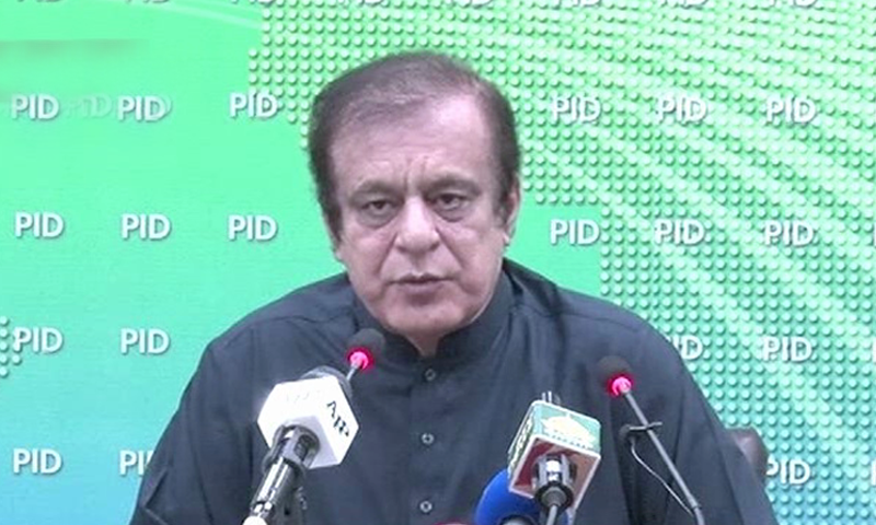 Information Minister Shibli Faraz speaks at a press conference. — DawnNewsTV