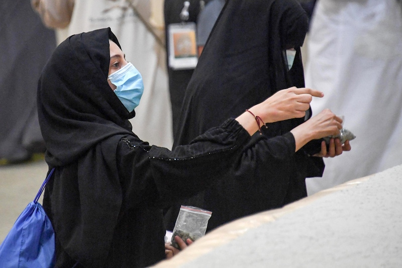 Muslim pilgrims cast stones at pillars symbolising Satan during the annual Haj pilgrimage amid the coronavirus disease pandemic, in Mina, near the holy city of Mecca, Saudi Arabia, on July 31, 2020. — Reuters