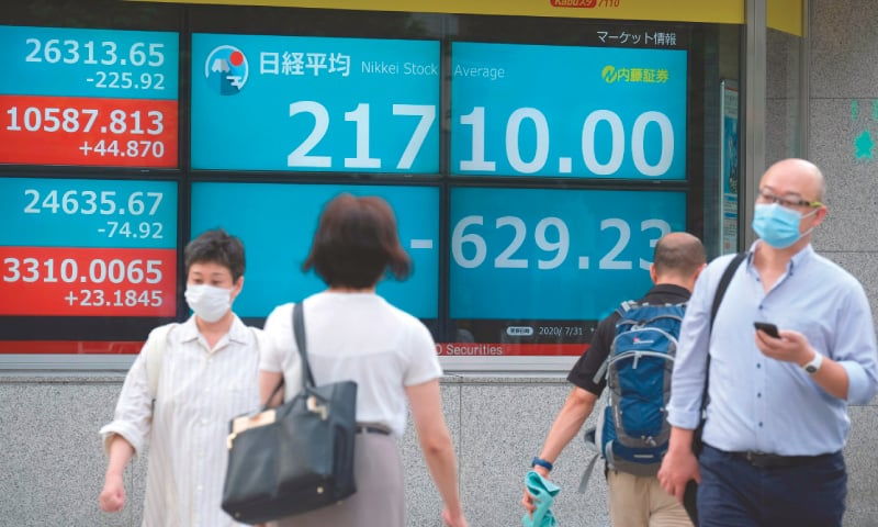 Pedestrians walk past an electronic quotation board displaying share prices in Tokyo on Friday. — AFP
