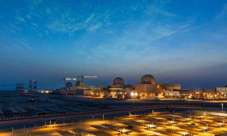A handout image provided by United Arab Emirates News Agency (WAM) on August 1, 2020 shows a general view of the Barakah Nuclear Power Plant in the Gharbiya region of Abu Dhabi on the Gulf coastline about 50 kilometres west of Ruwais. — Photo via AFP