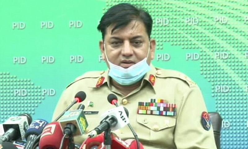 National Disaster Management Authority Chairman Lt-Gen Mohammad Afzal addresses a press conference in Islamabad on Sunday. — DawnNewsTV