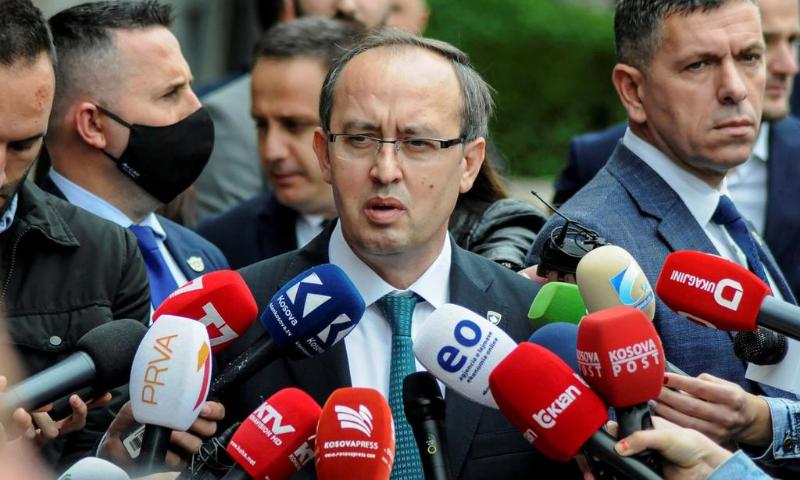Kosovo Prime Minister Avdullah Hoti talks to media outside the parliament building in Pristina, Kosovo on June 3, 2020. — Reuters/File