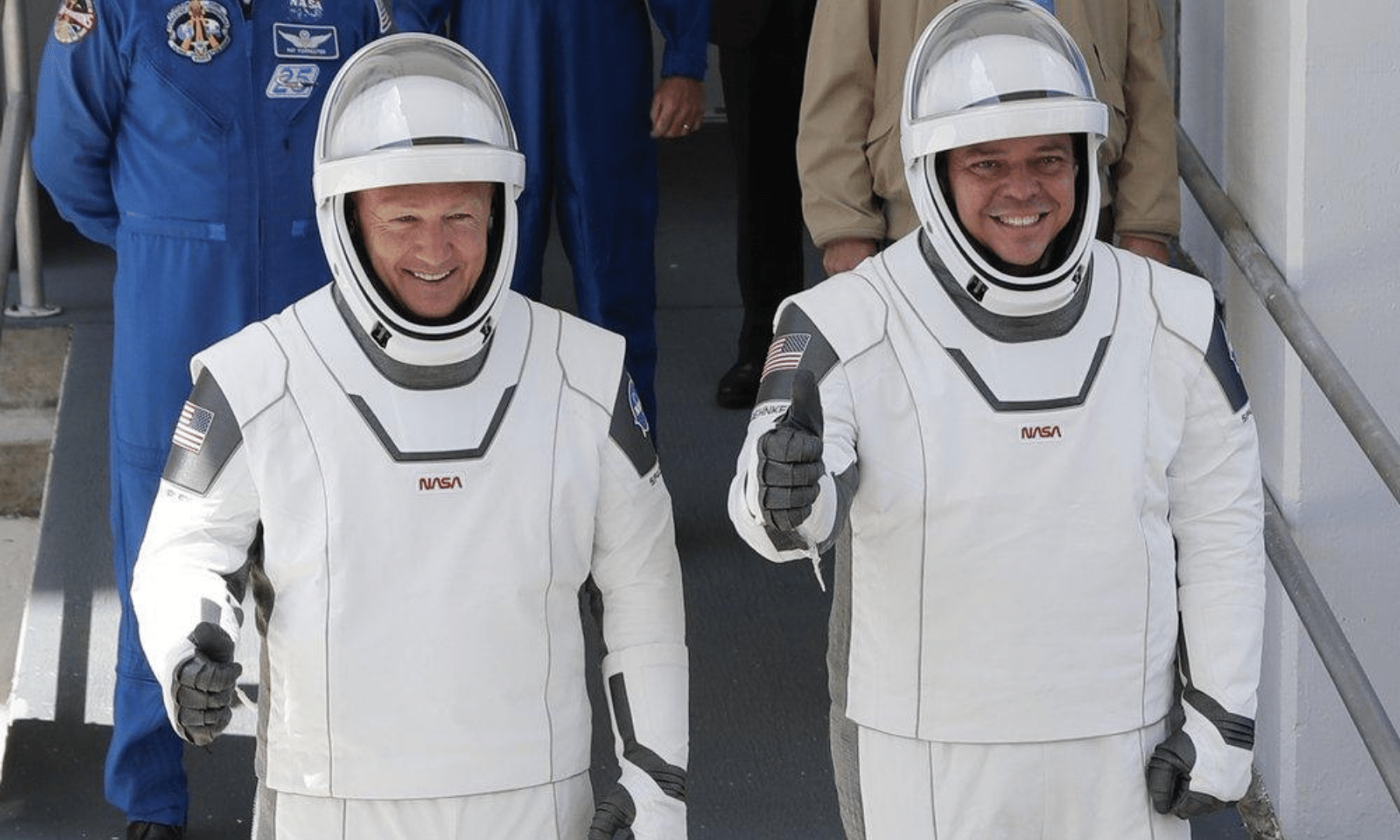 In this May 30, 2020 file photo, Nasa astronauts Douglas Hurley and Robert Behnken walk out of the Neil Armstrong Operations and Checkout Building on their way to Pad 39-A, at the Kennedy Space Center in Cape Canaveral. — AP
