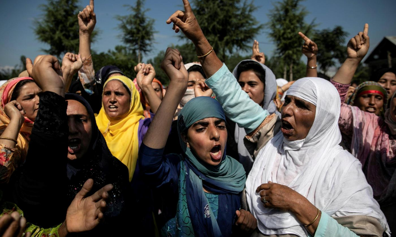 In this August 2019 file photo, women attend a protest after Eidul Azha prayers at a mosque during restrictions after scrapping of the special constitutional status for occupied Kashmir by the Indian government. — Reuters/File