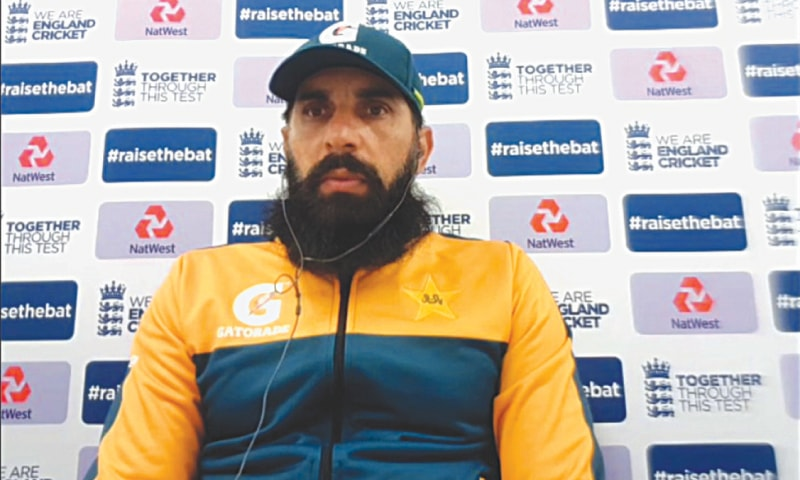 MANCHESTER: Pakistan head coach Misbah-ul-Haq listens to a question during the online media conference at Old Trafford on Monday.—Courtesy PCB