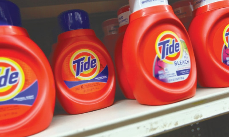 TIDE laundry detergent is seen on a store shelf in Miami, Florida. Strong sales of cleaning products and soaps amid the coronavirus crisis more than compensated for lacklustre demand for shaving products, lifting Procter & Gamble's quarterly earnings, the company reported last week.—AFP