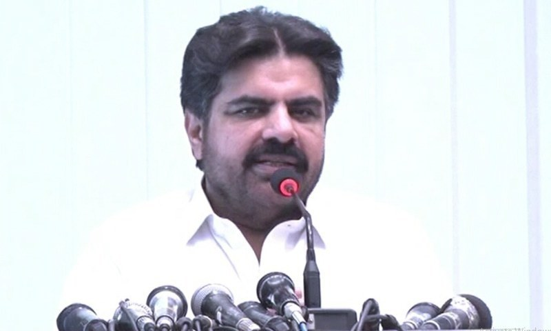 """Sindh Minister for Information and Local Bodies Syed Nasir Hussain Shah says Bilawal and opposition wanted to """"protect"""" the country from further harm and double standards of PTI. — DawnNewsTV/File"""