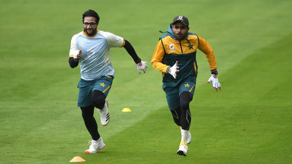 Imam-ul-Haq and Babar Azam during a practice session ahead of the first Test that will be hosted at Old Trafford, Manchester from Aug 5-9. — Photo via PCB Twitter