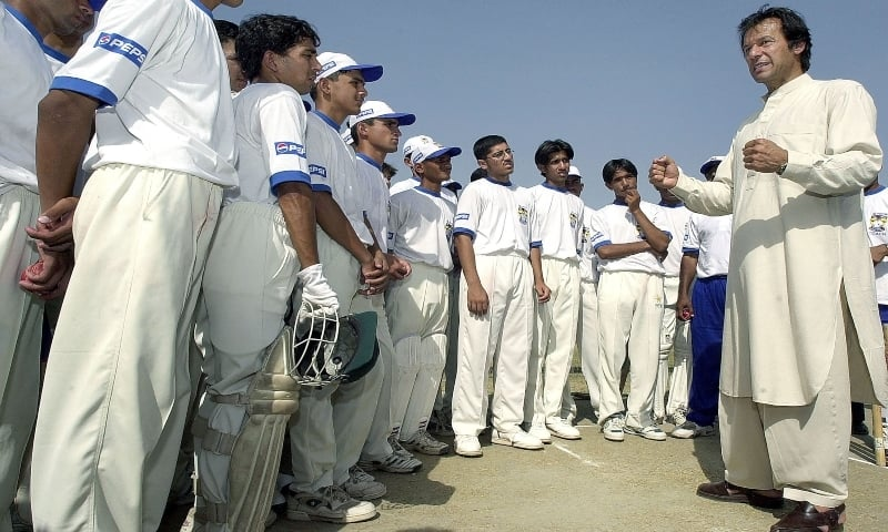 This file photo taken on June 20, 2003 shows former Pakistan cricket captain and sitting Prime Minister Imran Khan giving tips to his students during a cricket class conducted under the auspices of the Pakistan Cricket Board and Pepsi in Rawalpindi. — AFP