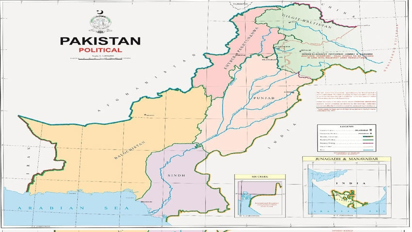The new political map of Pakistan. — Photo courtesy Radio Pakistan